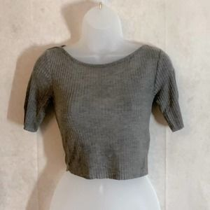 TOPSHOP Ribbed Gray Crop Top